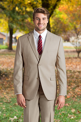 Slim Fit Tan 3-Piece Nested Suit