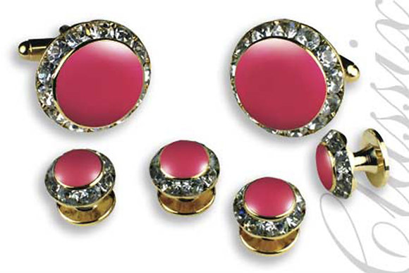 Pink Enamel Center Round Austrian Crystal