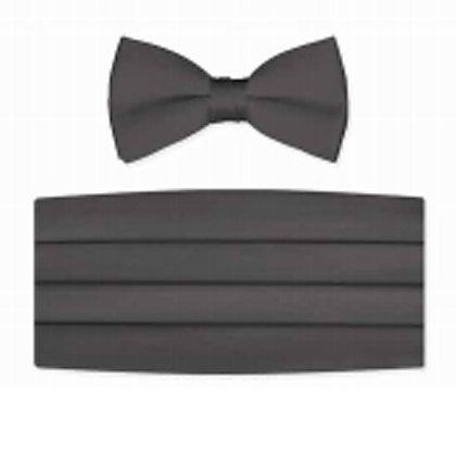 Charcoal Satin Bow Tie and Cummerbund