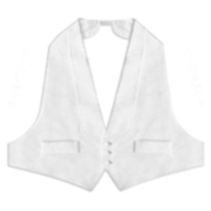 White Pique Three Button Backless Vest