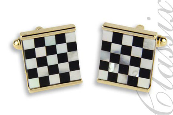 Onyx & Mother of Pearl Checkerboard Design