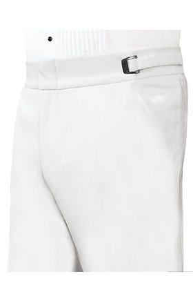 White Non-Pleated Trouser with Satin Piping