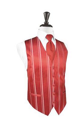 Striped Satin Persimmon Vest