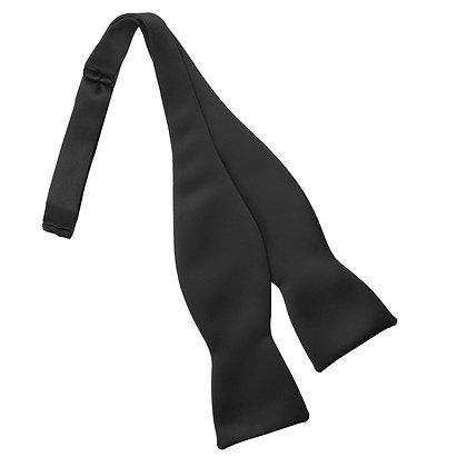 Black Satin Self Bow Tie