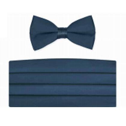 Victorian Blue Satin Bow Tie and Cummerbund