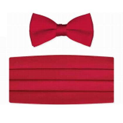 Red Satin Bow Tie and Cummerbund