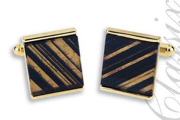 Square Stone Striped Black & Clear Obsidian