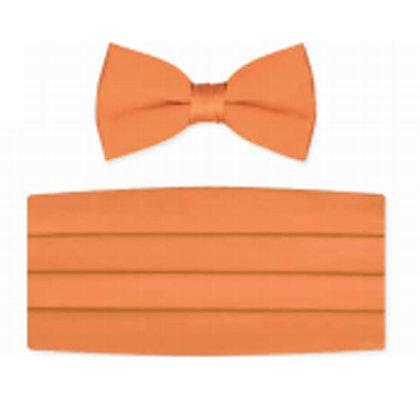 Tangerine Satin Bow Tie and Cummerbund