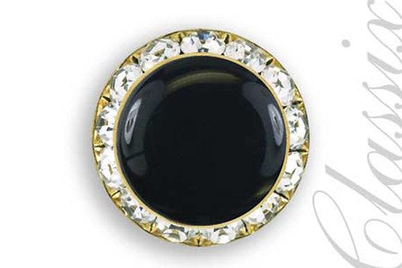 Black Enamel Center Button Cover w/ Gold Finish