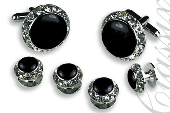 Black Enamel Center Round Austrian Crystal