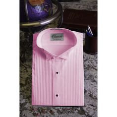 Pink Pleated Wingtip Tuxedo Shirt