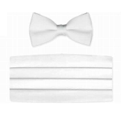 White Satin Bow Tie and Cummerbund