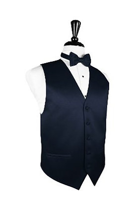 Satin Midnight Blue Vest