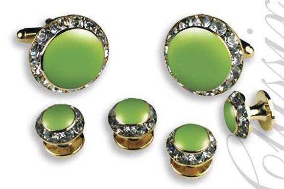 Lime Green Enamel Center Round Austrian Crystal