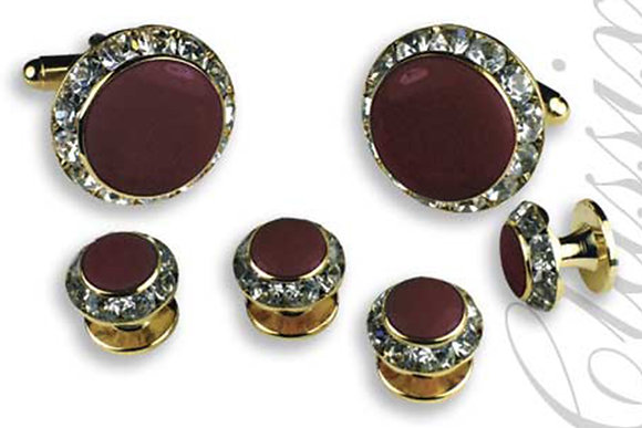 Burgundy Enamel Center Round Austrian Crystal