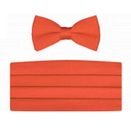 Coral Satin Bow Tie and Cummerbund