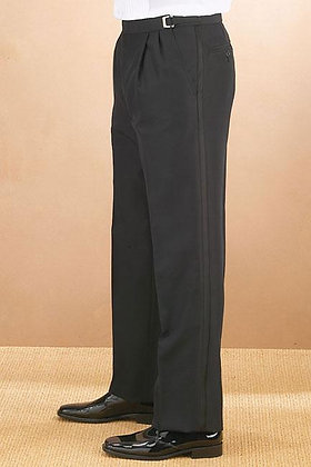 Black Classic Fit Pleated Tuxedo Pant