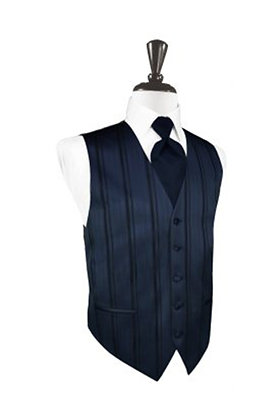 Striped Satin Midnight Blue Vest