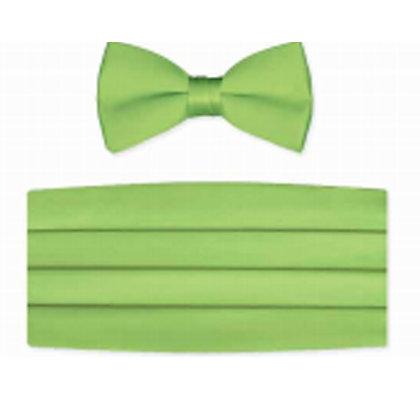 Lime Satin Bow Tie and Cummerbund