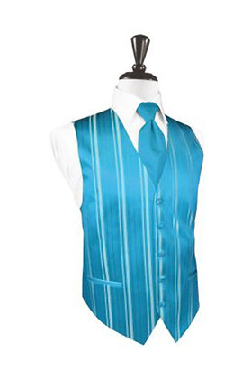 Striped Satin Turquoise Vest