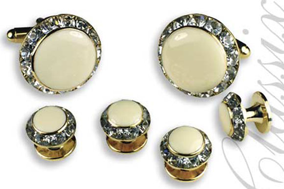 Ivory Enamel Center Round Austrian Crystal