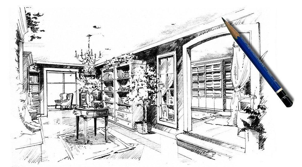 Hand drawn architectural renderings and Interior Design Consultation