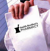 Delivery pharmacy sack with Smith Brother's Phamacy logo