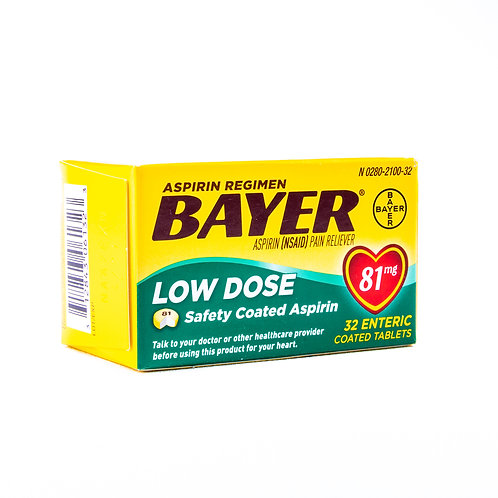 Bayer Aspirin Low Dose Coated Tablets angle view