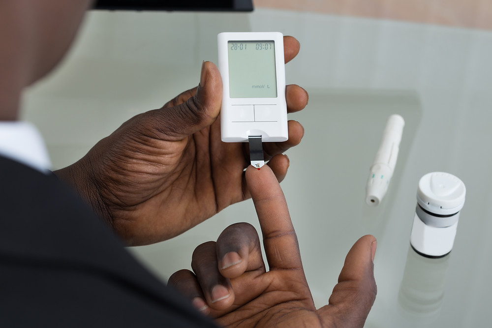 Finger prick device for checking checking blood sugar