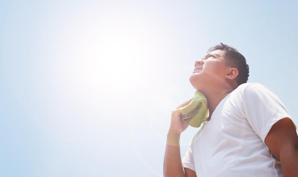 Man in summer heat