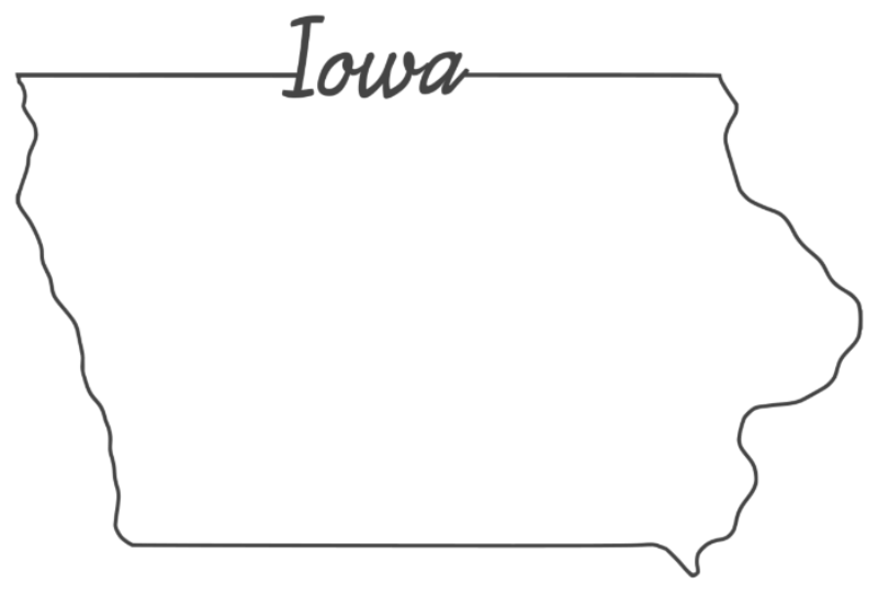 outline of the state of Iowa