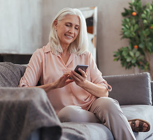 older woman texting