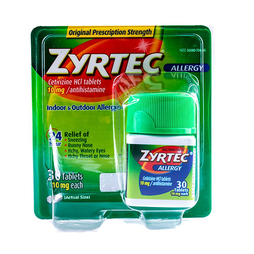 Zyrtec 24 Hour Allergy Relief Tablets Front View
