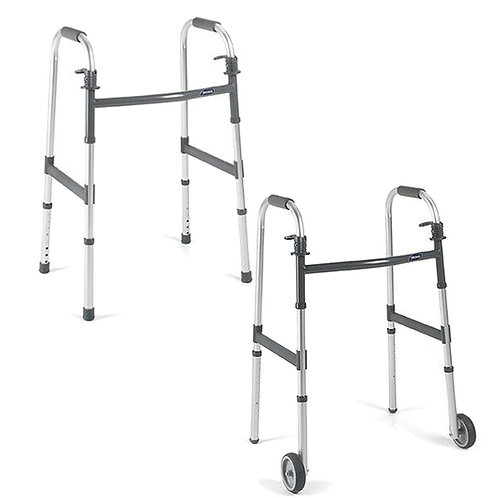 Walkers, with and without front wheels