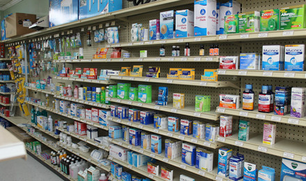 Wolfe's Pharmacy OTC section aisle