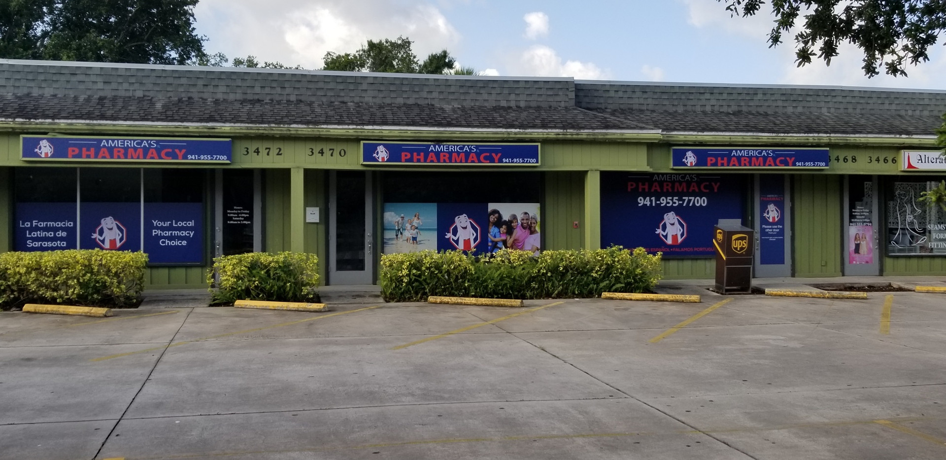 store front with large parking lot