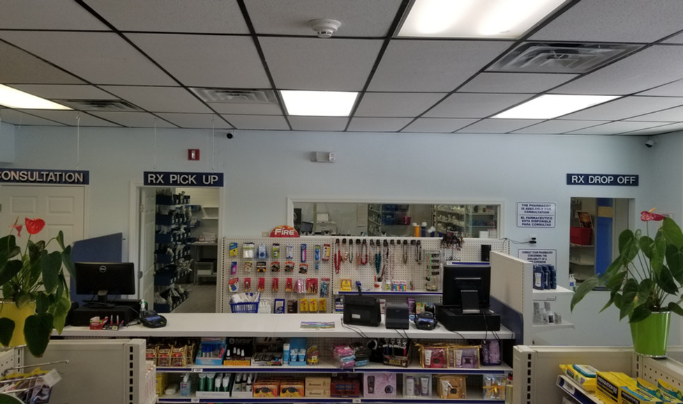 pharmacy counter/checkout area