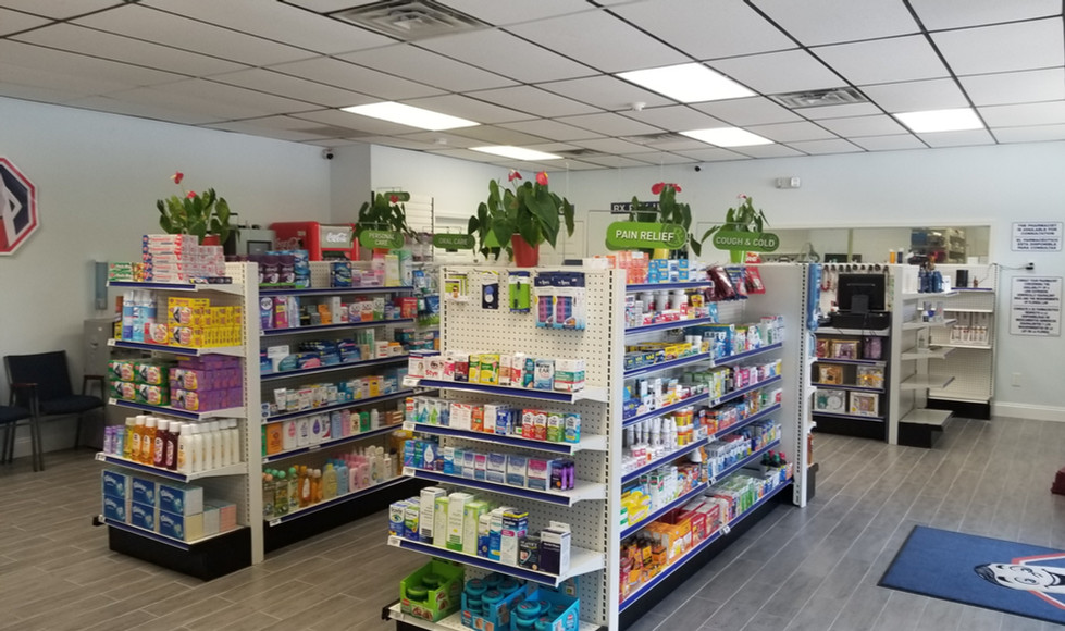pharmacy aisles fully stocked with products
