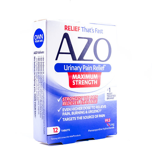AZO Maximum Strength Urinary Pain Relief Tablets angle view