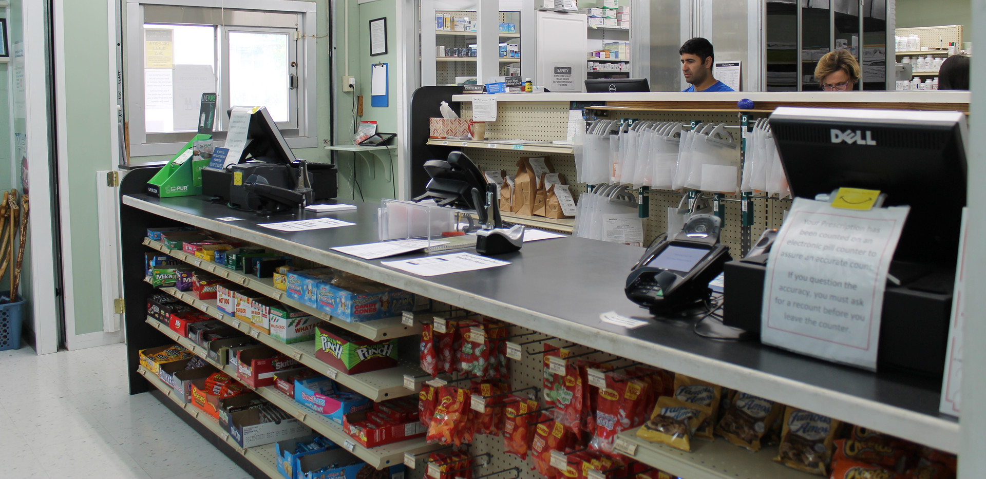 Wolfe's Pharmacy checkout counter