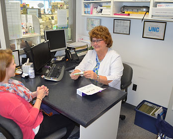 ruth talking to patient