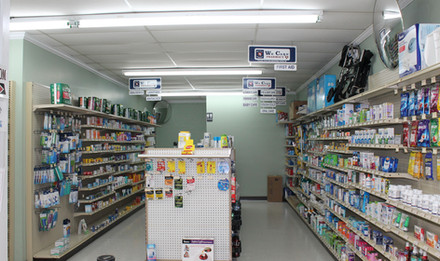 OTC section in Wolfe's Pharmacy