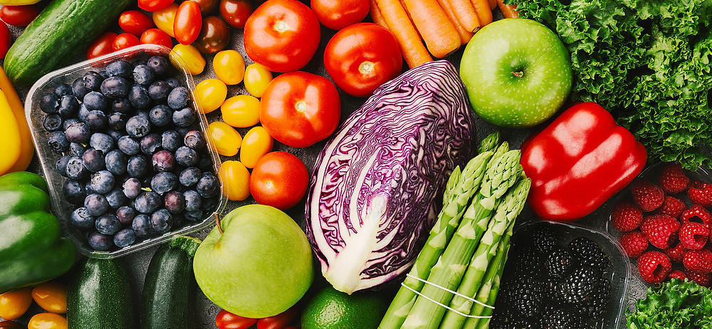 top view of vegetables and fruits