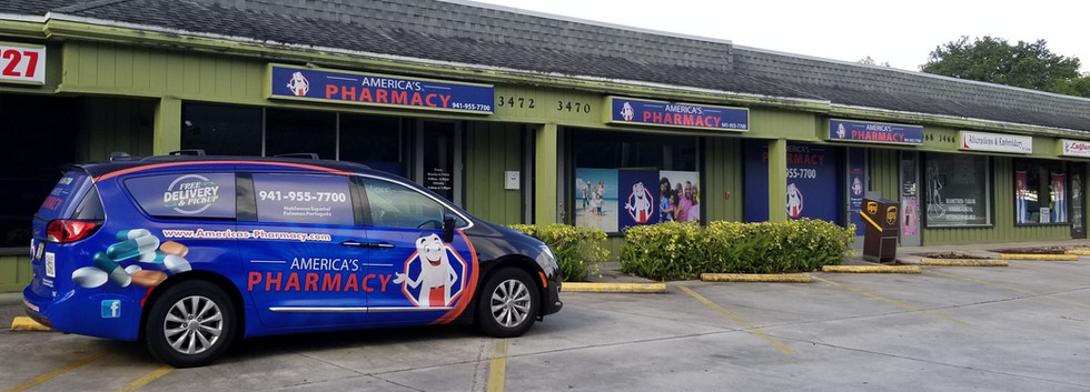 America's Pharmacy store front with delivery car