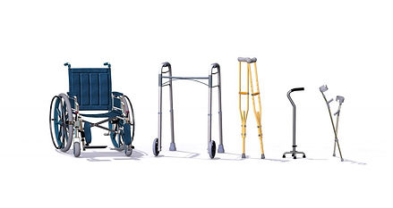 Medical Equipment. Wheelchair, walker, crutches, cane.