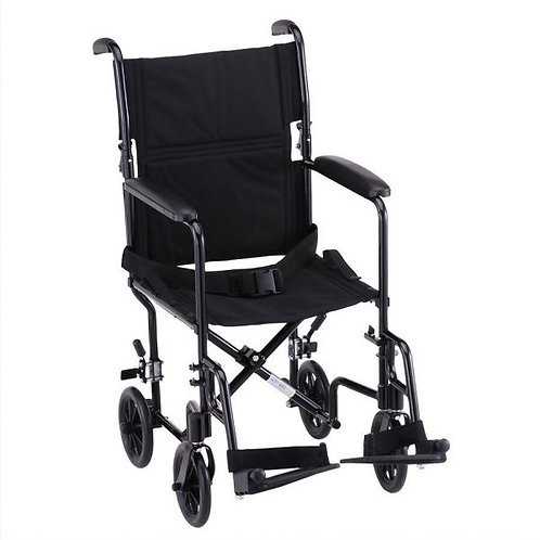 Transport Chair front view, black frame