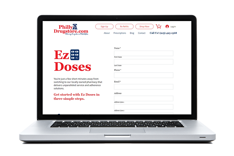 Laptop screen showing Ez Doses sign up form