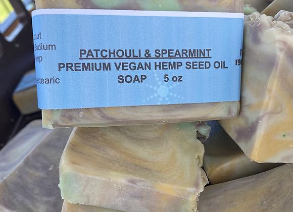 Patchouli /spearmint hemp oil vegan soap