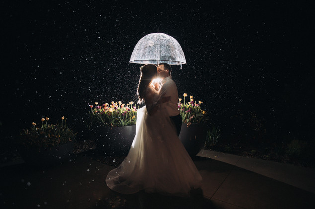 Rainy Newlywed Photo