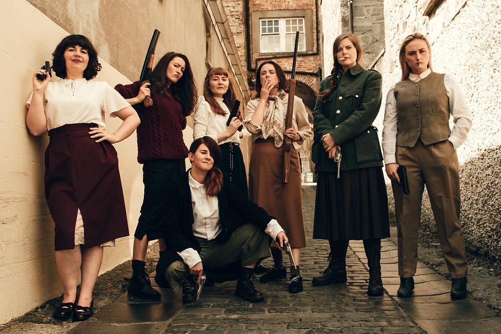 The Roaring Banshees. L-R Amy Dunne, Aoife Spratt,Laura Brady, Clodagh MD, Nessa Matthews, Ali Fox, Aine Ni Laoghaire. Image by Sean Clancy